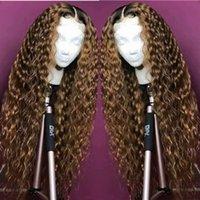 pelucas de pelo largo rubio 24 al por mayor-100% sin procesar Remy Virgin Human Hair Deep Wavy Long Length # 1bT27 Ombre Blonde Full Lace Silk Top peluca para las mujeres negras