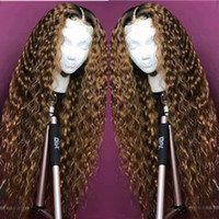 perruques de cheveux blonds longs ondulés achat en gros de-100% Unprocessed Remy Virgin Human Hair Deep Wavy Long Length #1bT27 Ombre Blonde Full Lace Silk Top Wig for Black Women