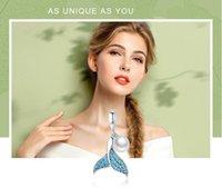 schwanz armband großhandel-925 Sterling Silber Meerjungfrau Schwanz elegante Perle Charm Perlen passen Armband Armreif Halskette S925 DIY Modeschmuck