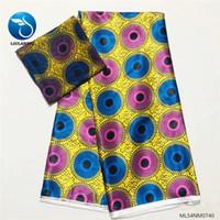 dikiş desen kumaş toptan satış-Toptan Afrika Baskılar Taklit İpek Balmumu Tasarım Afrika Elbise Dikiş Kumaşlar Ankara Balmumu 4 + 2 metre ML54NM0740-50