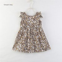 Wholesale leopard kids clothes for sale - Group buy girl kids clothing dress Round Collar Sleeveless Leopard Print girl elegant Summer Lolita Simple style Dress cm