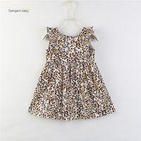 vestidos da menina da cópia do leopardo venda por atacado-menina miúdos roupa vestido O-neck mangas da cópia do leopardo menina elegante verão Lolita estilo simples vestido 80-110cm