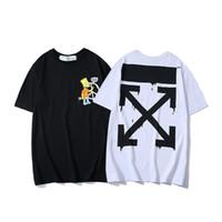 белая хлопковая рубашка для мужчин оптовых-19ss для мужчин хип-хоп хлопок Мужская одежда футболка круглый воротник миллиардер человек топы лето с коротким рукавом черный белый футболка