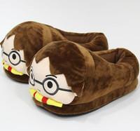 zapatillas de invierno para el hogar al por mayor-Zapatillas de felpa de invierno de Harry Potter Slipper Sandalias de pareja creativas Zapatos de casa planos unisex Zapatos de interior de dibujos animados GGA2569