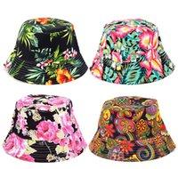 ingrosso grande secchio di fiori-Cappelli con secchiello da donna Cappelli con cappelli da sole per bambini grandi Stampa cappelli estivi Cappelli con cappello estivo da spiaggia SunHat Flower 27styles VVA353