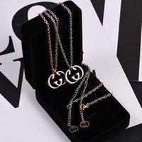 ingrosso nome diy della collana-Collana con ciondolo nome personalizzato fai-da-te Big G lettera gioielli gioielli di lusso 2 colori oro rosa / collana a nastro