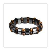 bracelets de santé de qualité achat en gros de-Mode Bracelet Magnétique Santé Main Chaîne pour Femmes Hommes De Haute Qualité Populaire Noir Pierre Bracelet Arthrite Soulagement De La Douleur Thérapie Sportive