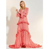 elbiseler yakışıklı yaka toptan satış-2019 Bahar Kadın Uzun Elbise Açık Pembe Ekose Seksi Turn-down Yaka Ruffled Uzun Kollu Elbise Zarif Kadınlar için parti elbise