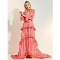 ingrosso abiti colletti increspati-Abito lungo primavera donna 2019 Plaid rosa chiaro Abito con risvolto colletto arruffato Abito manica lunga elegante per le donne