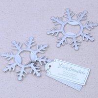 banho de noiva de prata venda por atacado-Prata Snowflake abridores de garrafa Bridal Wedding Shower Favors Winter Party Supplies Aniversário Decor Tabela Suprimentos EEA832