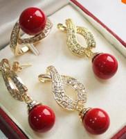 brincos de colar de coral vermelho venda por atacado-12mm Red Shell Pérola Pingente de Colar Brincos Anel Set stylejewelry Quartz Crystal Mulheres Casamento