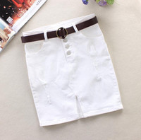 pantalones por encima de la cintura al por mayor-JHole Jeans Saias Button Faldas de cintura alta para mujeres Paquete Hip Ripped Feamel Summer Style Above Knee Mini Denim Skirt J2892
