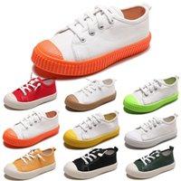 zapatos de lona de los niños de color naranja al por mayor-TOP no Marca niños zapatos de lona Niños Niñas Niño de deslizamiento en la galleta Calzado casual colores Whtie Negro Naranja Rojo Verde caramelo 20-31 Style 1