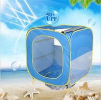 Wholesale tent houses resale online - Baby Tents Foldable Pool Tent Kids Play House Indoor Outdoor UV Protection Sun Shelters Children Camping Beach Swimming Pool Toy Tents TL961
