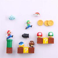 ingrosso figurine carine-1 Set Resina 3D Super Cute Mario Magneti Frigo vestito per Bambini Figurine Parete Marios Pallottole Mattoni Decorazione Della Casa Ornamenti