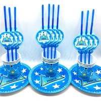 ingrosso tazze di partito blu-60pcs \ lotto bambini favori principe blu corona tema cannucce di carta per bambini buon compleanno tazze di partito decorazione per feste