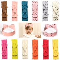 Wholesale color cotton hair band for sale - Group buy Retro Baby girl Headband Hair Bows Soft cotton wool Dots hair accessories Bunny band Birthday gift Boutique Fall Spring Winter