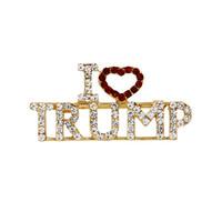 broches de diamantes al por mayor-Aleación Diamantes Ramilletes Cartas Broche I Love Trump Portátil Pecho Color de oro Barato y fino Vendo bien 3 8md J1