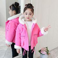 школьная одежда для девочек оптовых-2018 New Baby Girls Winter Warm Coat Kids School Casual Jackets Fashion Fur Hooded Cotton Down Solid Color Winter Clothes Girl