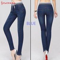 ingrosso jeans caldi neri-Elasticità Cashmere Jeans caldi per le donne grande nero jeans con vita alta vita elastica dei jeans femminili