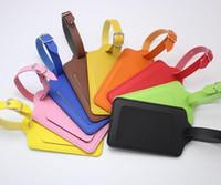 cinturón negro cadenas de oro al por mayor-20 unids 8 colores PU maleta de cuero etiqueta de equipaje etiqueta bolso colgante bolso portátil accesorios de viaje