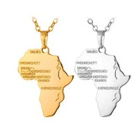 африканский хип-хоп ожерелья оптовых-Ювелирные изделия Африка Карта ожерелье Серебро Золото Африки Карта ожерелье Мода для женщин Мужчины хип-хоп ювелирных изделий подарка 161848