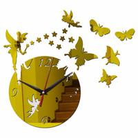 kelebek kahvesi toptan satış-Yaratıcı cezve ve fincan kelebek kuvars büyük saat ayna duvar ev dekor saatler sticker gümüş altın siyah oturma odası için
