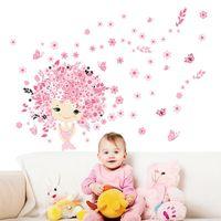 prinzessin wandaufkleber großhandel-20190621 Pink Cute Princess Butterfly Flower Wandbild Wandpaste Kinderzimmer Dekoration wasserdicht Umweltschutz Aufkleber