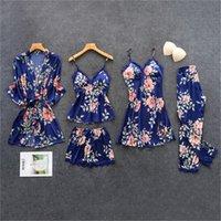 ingrosso rosa scivola lingerie-di Daeyard donne pigiama di seta floreale complesso stampa 5Pcs Pajama Set Sexy Lace raso Pigiama Pijama Camicia da notte degli indumenti da notte Home Abbigliamento