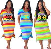 orta kollu yazlık elbiseler toptan satış-Kadınlar Tasarımcı Marka Günlük Elbiseler Seksi Kulübü V Yaka Kısa Cap Sleeve Bölünmüş Çizgili Kalem Elbiseler Panelli Orta buzağı Yaz giyim 837