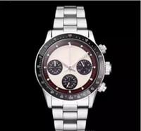 relógios de rosto branco para homens venda por atacado-2019 novo cronógrafo de quartzo cronógrafo homens luxo branco esqueleto rosto fecho de aço Inoxidável original moda mens relógios 37 MM 20