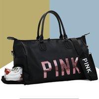 ingrosso sacchetti sportivi delle signore dentellare-Scarpe da palestra donna fitness PINK rosa Scarpe da ginnastica donna in nylon di grandi dimensioni spalla Yoga borsone donna rosa borse da viaggio all'aperto # 665259