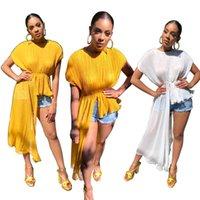 ingrosso le camicette gialle in cima-2019 più recenti pieghe donne irregolari magliette estive 2019 moda maniche corte allentato camicetta casual vita elastica elegante top giallo bianco