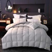weiße kingsize-decke großhandel-100% Daunendecke Weiß Grau Queen King Size Bett-Set Steppdecke Bettbezug Füllset Warme Decke edredon colcha couette
