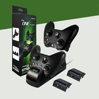 xbox grátis venda por atacado-frete grátis estação de carregador duplo carregador estande para xbox um / xbox fino com duas baterias 300-400 mah