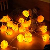 ingrosso luci per zucche di halloween-2019 Nuovo 1 set di zucca luci 10 Luci della stringa del LED decorazione di Halloween bianco caldo di Halloween della decorazione della casa Picc GB1175