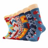 erkekler için iş çorapları toptan satış-6 çift / grup Mens Mutlu Çorap Penye Pamuk Renkli Komik Yenilik Erkek Mutlu Noel Hediyesi Çorap Rahat Iş Elbise Için Damla Nakliye