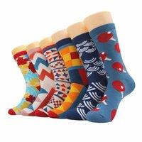 ingrosso allegro natale colorato-6pairs / Lot Mens Happy Socks Cotone pettinato Colorful Novità Novità Mens Buon Natale calzino regalo per Business casual Dress Drop Shipping
