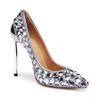 свадебный туфель с высоким каблуком оптовых-Натуральная кожа роскошный дизайнер горный хрусталь свадебные туфли остроконечные 12 см на высоком каблуке серебряные свадебные туфли с коробкой