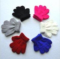bebek parmak eldivenleri toptan satış-Kış Sıcak Bebek Eldiven Çocuk Örme Streç Eldivenler Çocuklar Katı Kızlar Eldiven Tam Parmak Eldiven Örme Erkek Eldiven 7 Renkler Xmas hediyeler
