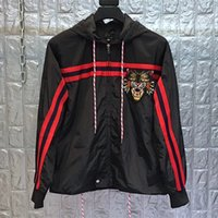Wholesale clothing leather for slim men for sale - 2019 spring designer tiger embroidery jacket with hood for men long sleeve outwear clothing plus size animal cartoon