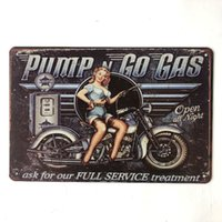 Wholesale full pumps for sale - Group buy Pump Go Gas Full Service Decorative Metal Retro Tin Poster Wall Cafe Bar Cave Garden Restaurant Room Club Vintage Artside