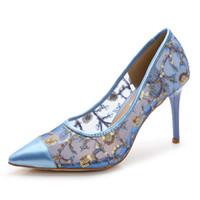 ingrosso scarpe da sposa formato 43-Moda paillettes designer di pizzo da sposa scarpe da sposa singolo punta a punta 9cm tacco a spillo scarpe di marca donne pompe taglia 35-43