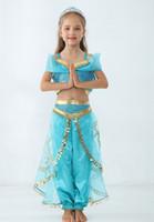 roupas para dança do ventre venda por atacado-Aladdin's Lamp Jasmine Princesa Trajes de Cosplay roupas de Halloween Das Crianças Do Partido Da Princesa menina Dança Do Ventre Vestido 2 pcs