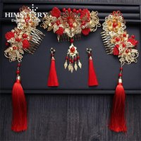 Wholesale classical chinese jewelry resale online - Himstory Handmade Long Tassel Vintage Brides Hair Accessories Chinese Classical Wedding Headdress Jewelry Hair Combs Hairwear T190620