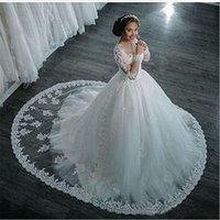 neue frühlingshochzeitskleider großhandel-Mode Außenhandel Hochzeitskleid Braut Frühling 2019 New High Collar Langarm Trailing Lace Brautkleider