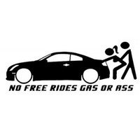 autocollants de camion gratuits achat en gros de-NO FREE RIDES GAZ OU CUL Style de camion Pare-chocs Unique Décor Fenêtre Drôle Autocollant De Voiture Vinyl Decal