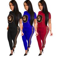 ingrosso stampa le donne pantaloni più il formato-T-shirt da donna leggings stampa estate T-shirt manica corta pantaloni leggings 2pcs sportswear plus size abiti sportivi jogging set 2019 B3185