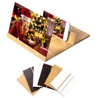 киноэкраны оптовых-12 дюймов HD экран лупа 3D сотовый телефон фильмы усилитель древесины зерна с Складной держатель стенд для iPhone XS MAX XR Samsung S9 Note9