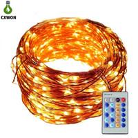 luz led el cable al por mayor-Cadena de luz LED 30M 300LED DC12V RGB con el regulador de alambre de cobre secuencia de hadas luz Xms Para el partido ligero de vacaciones